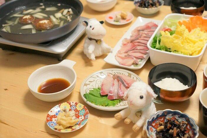 高知県の大月ぶりをお刺身としゃぶしゃぶにした夕飯。