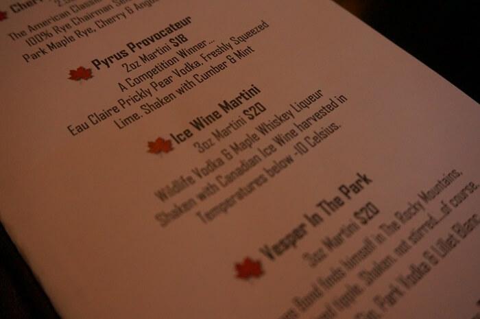 リムロックリゾートホテル(Rimrock Resort Hotel)のラウンジにあるお酒のメニュー。ちょっと高いけれどサービスも居心地も抜群です。