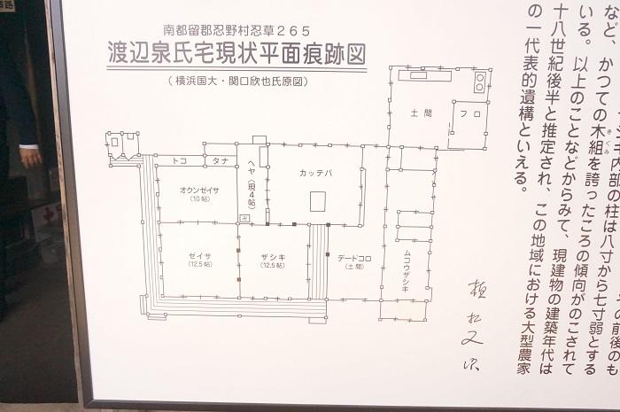 <榛の木林資料館>にある渡辺泉氏の家の間取り図