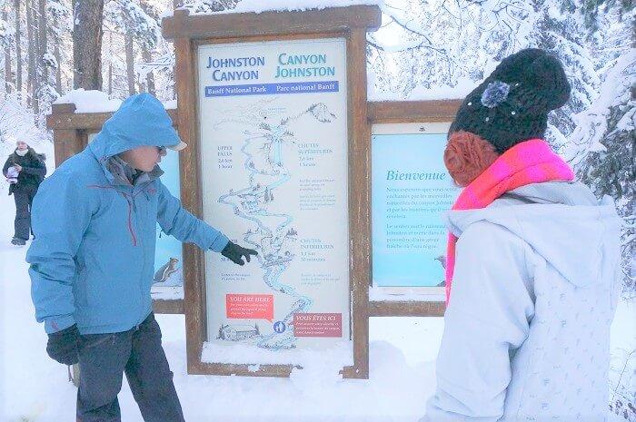 ジョンストンキャニオンの地図。安心の日本人ガイドさんの案内。