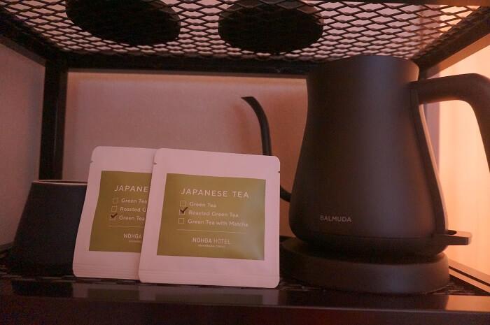 バルミューダの電気ポットとお茶。
