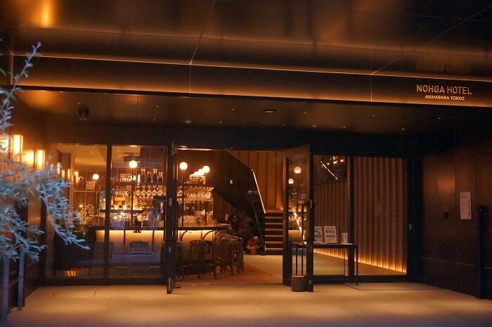 秋葉原のNOHGA HOTEL(ノーガホテル)のエントランス。