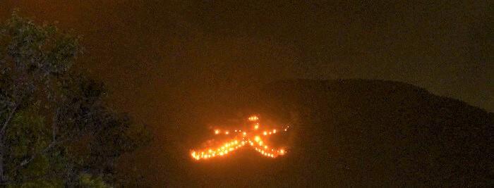 うら盆の送り火。箱根の大文字焼。
