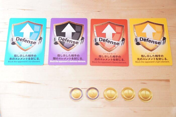 防御カードとチップのライフビットコイン。