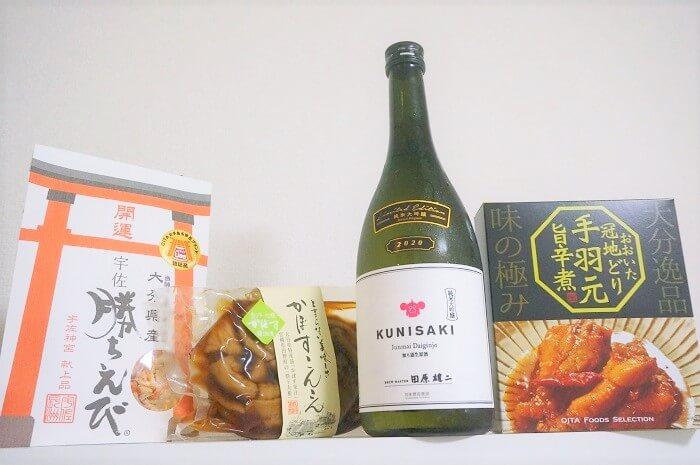 日本酒応援団で販売されたKUNISAKI+オールおつまみ3品。