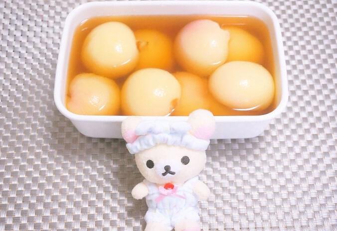 桃のコンポートの作り方。