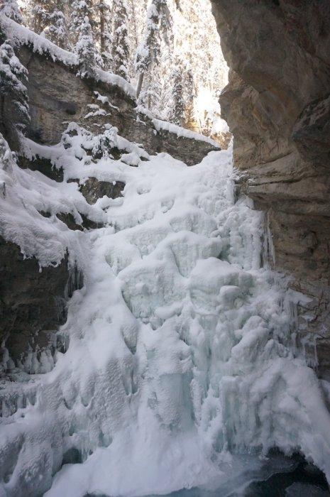 目の前に広がる迫力満点の氷瀑「ローワー・フォールズ Lower Falls」