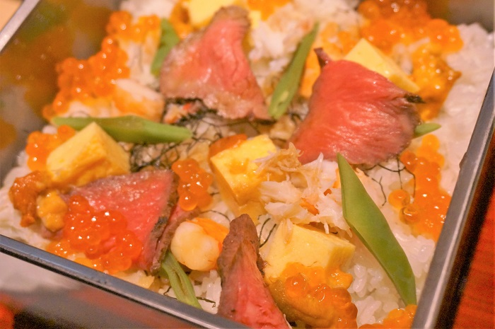 <銀座ひむか>尾崎牛をたっぷり味わえるレディース膳&雲丹といくらの宝石箱