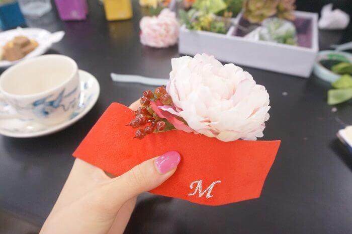 メリアルームさんのご厚意で、真梨の「M」を刺しゅうしてもらったよ!