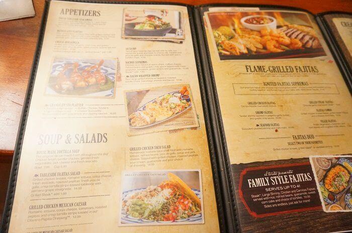 お店のメニュー。価格もリーズナブルなのでファミリーにもぴったり|カリフォルニア州に31店舗展開している<El Torito(エルトリト)>のアナハイム店でディナーを食べてきた本音の口コミをレビューしています。