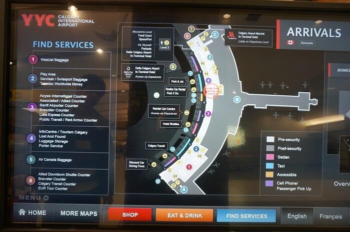 カルガリー空港到着ロビーの地図。